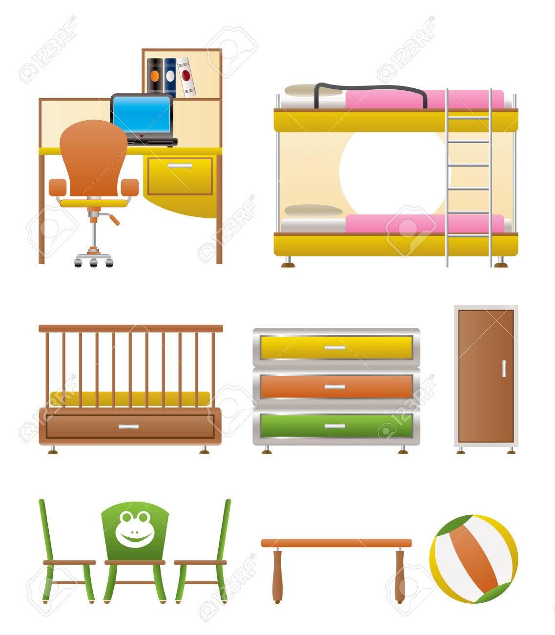Vivero Y Niños Salón Objetos, Mobiliario Y Equipo - Ilustración ...