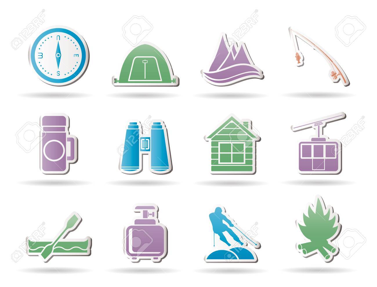 Travel, Tourism, vacation  and mountain objects - vector illustration Stock Vector - 9059687
