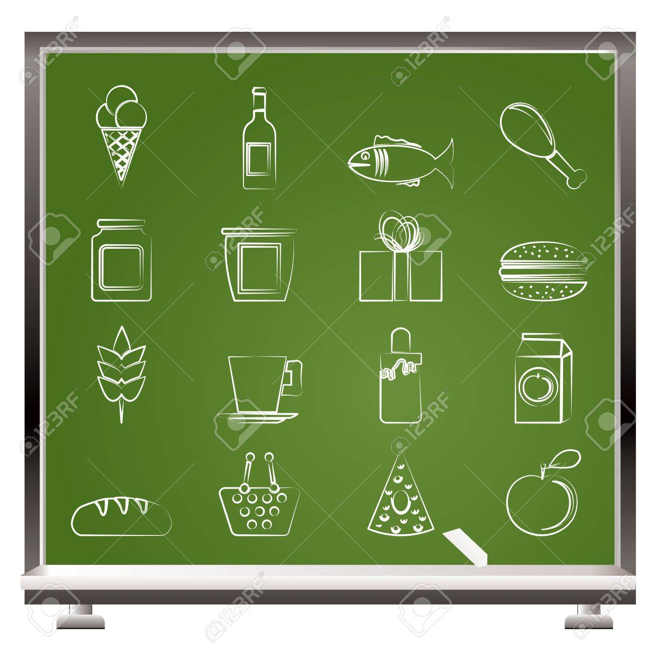 painted with chalk shop, food and drink icons - vector icon set Stock Vector - 9111917