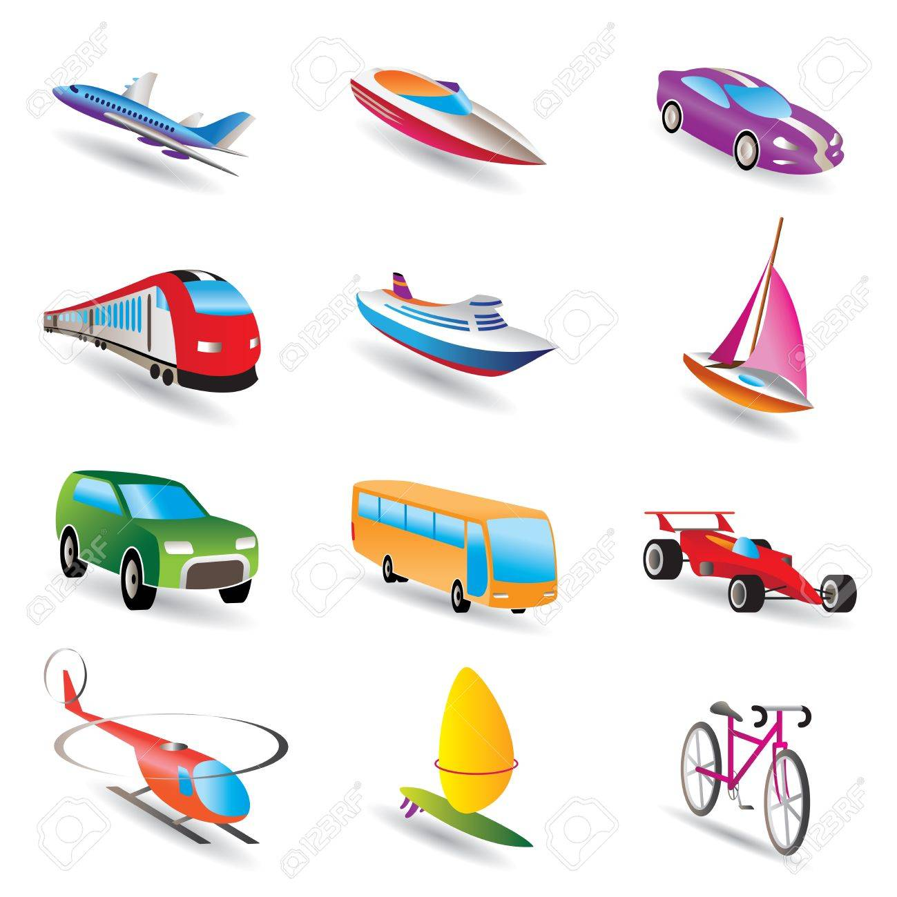 different kind of transportation and travel icons vector icon