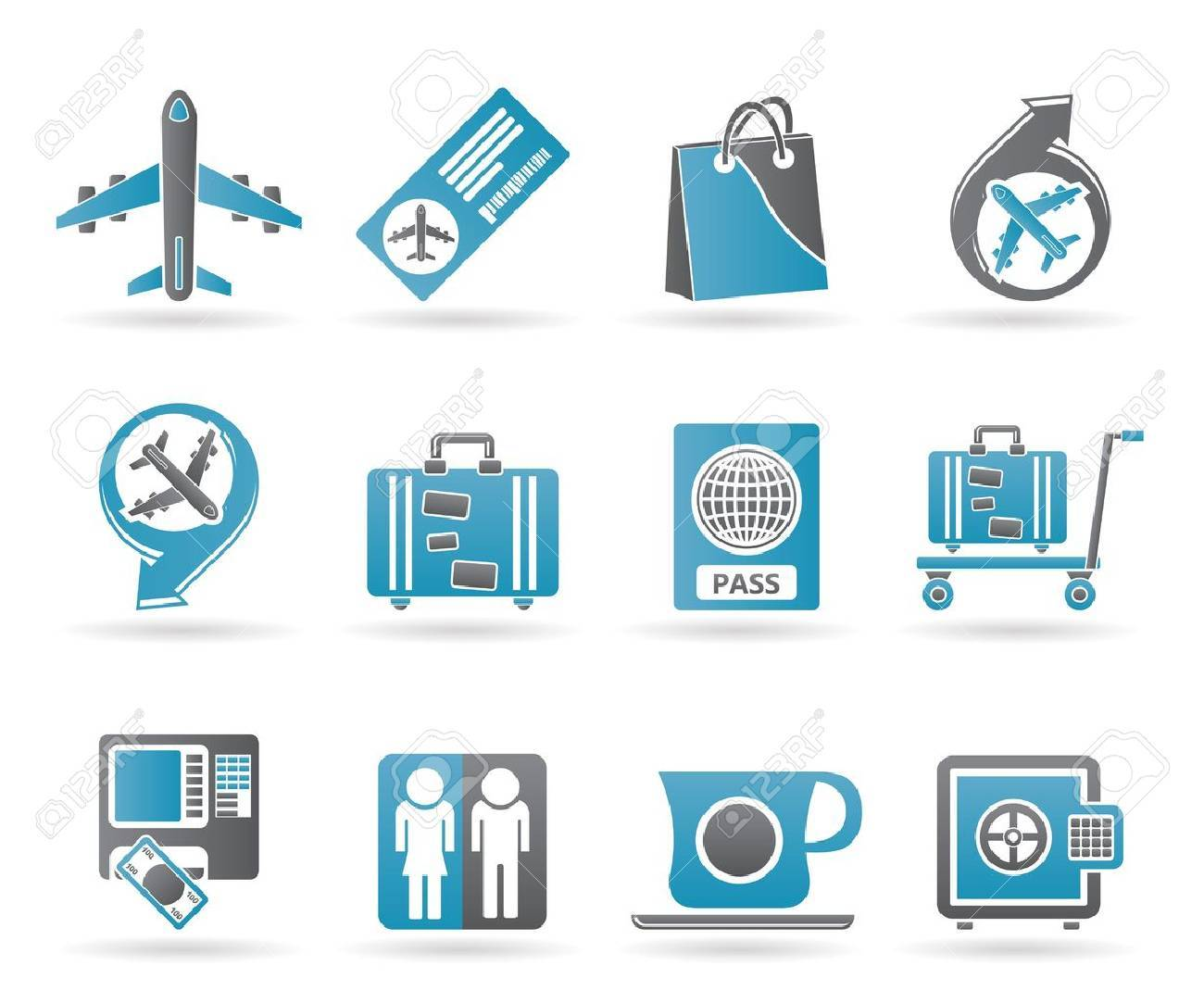 airport, travel and transportation icons Stock Vector - 9468928
