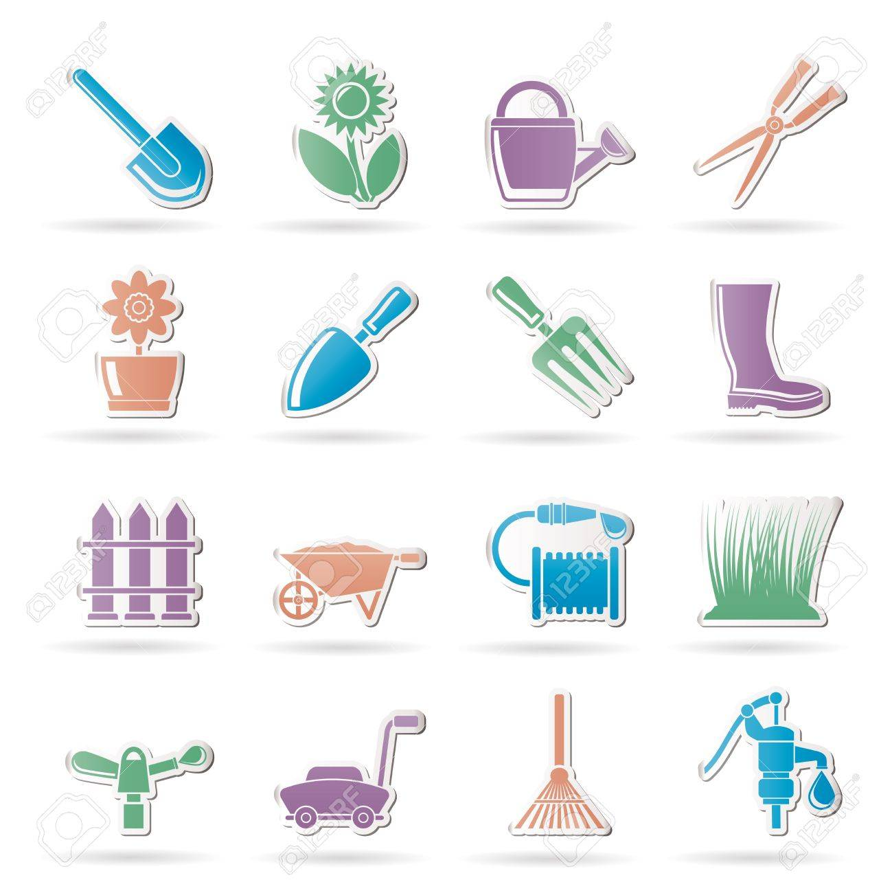 Garden and gardening tools and objects icons - vector icon set Stock Vector - 9719457