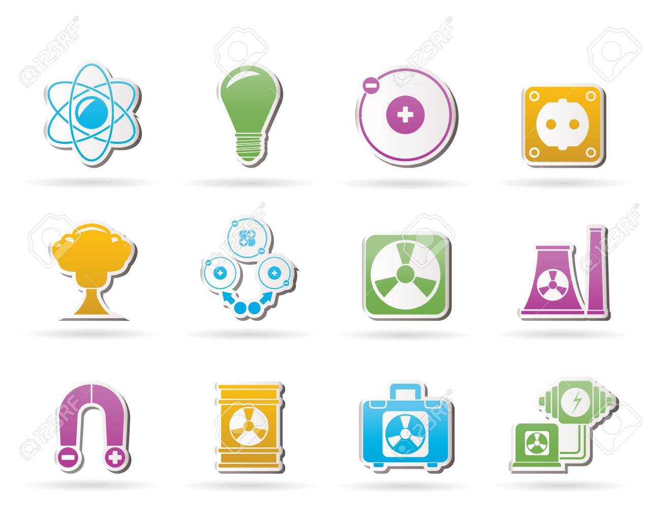 Atomic and Nuclear Energy Icons Stock Vector - 10860894