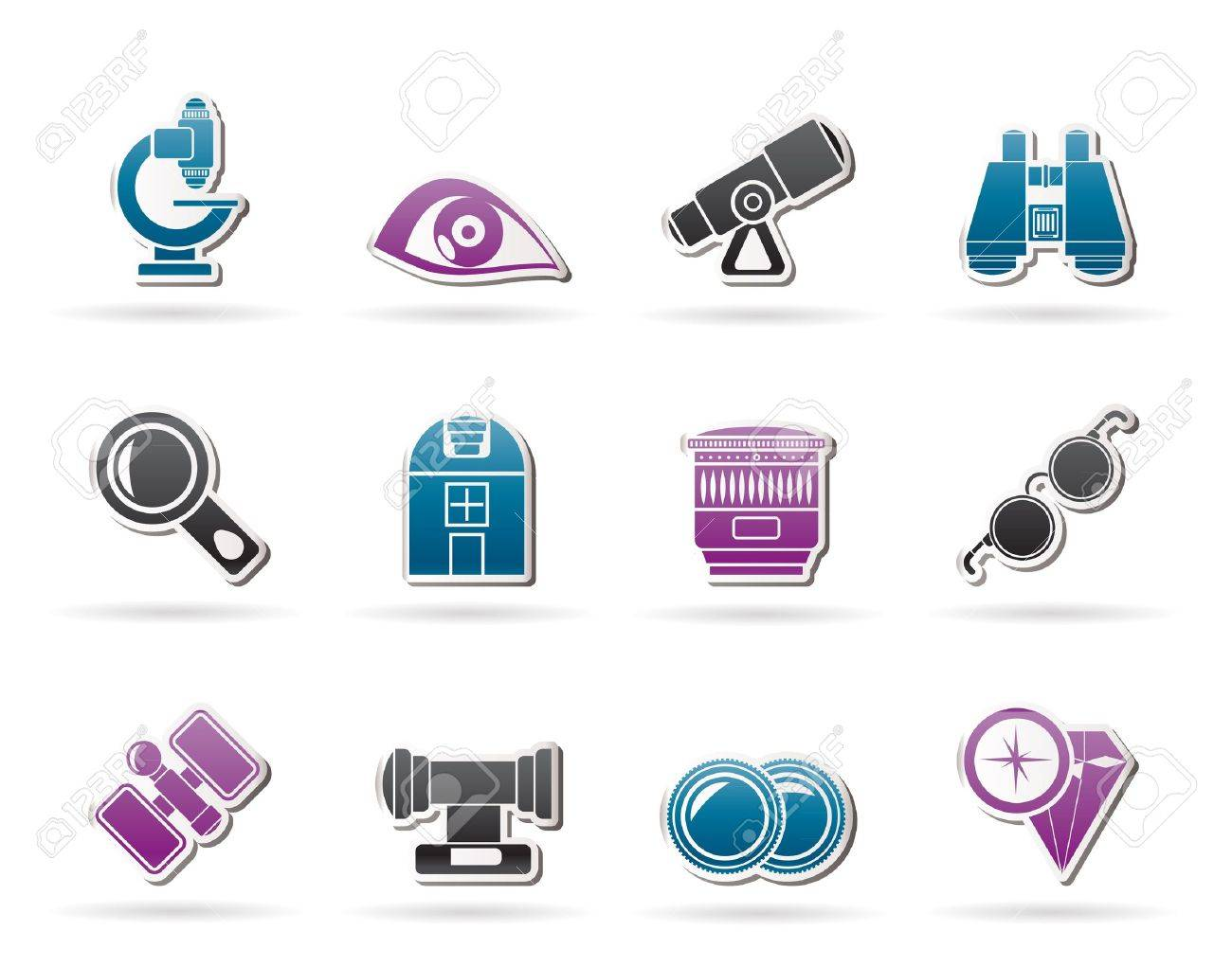 Optic and lens equipment icons - vector icon set Stock Vector - 10951867