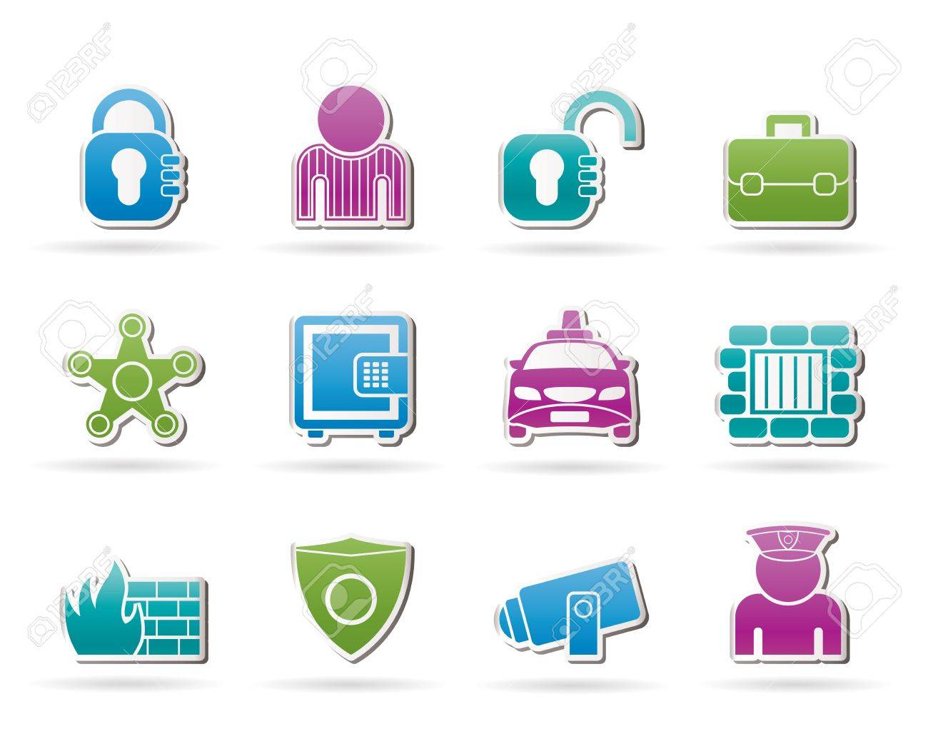 social security and police icons Stock Vector - 11033732