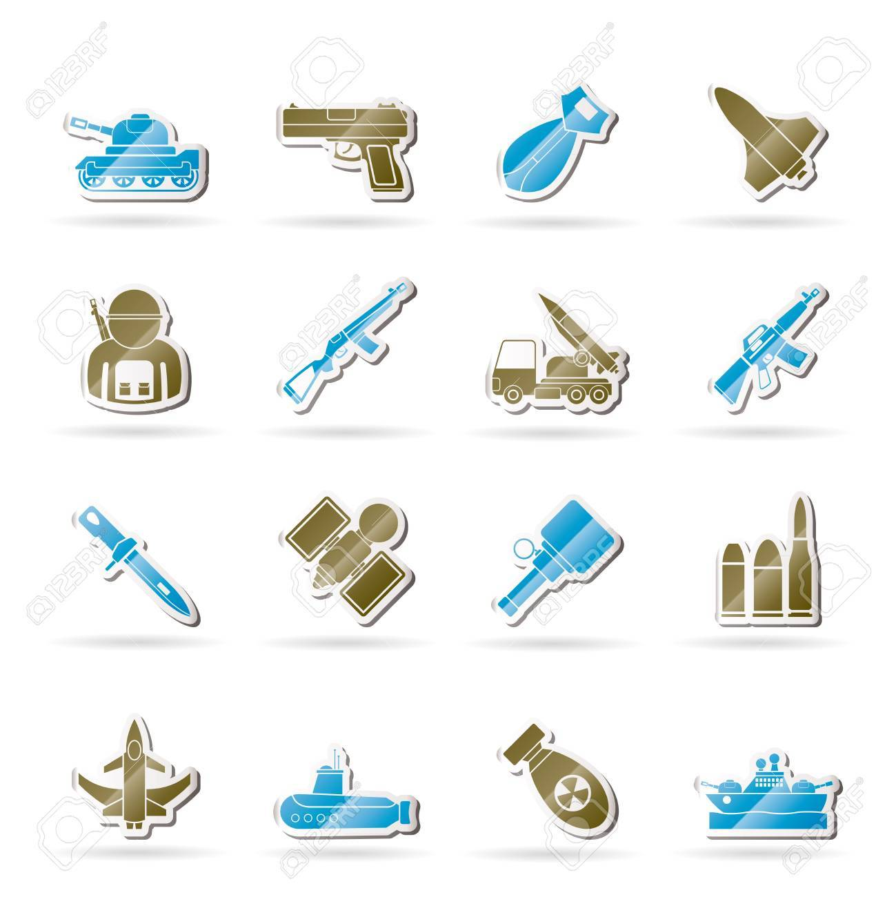 Army, weapon and arms Icons Stock Vector - 11107402