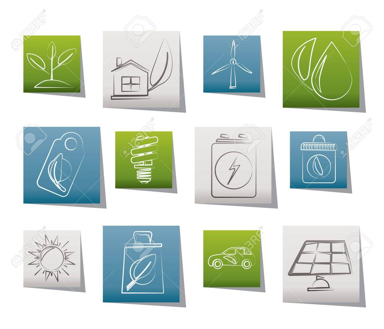 Green and Environment Icons Stock Vector - 11195295