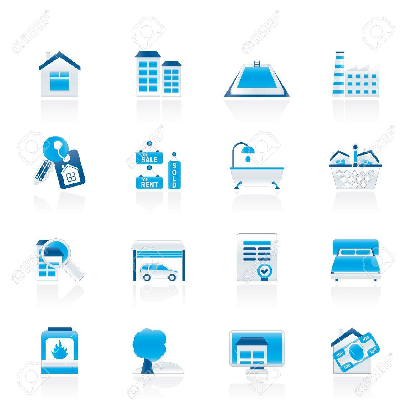 Real Estate objects and Icons Stock Vector - 11195302