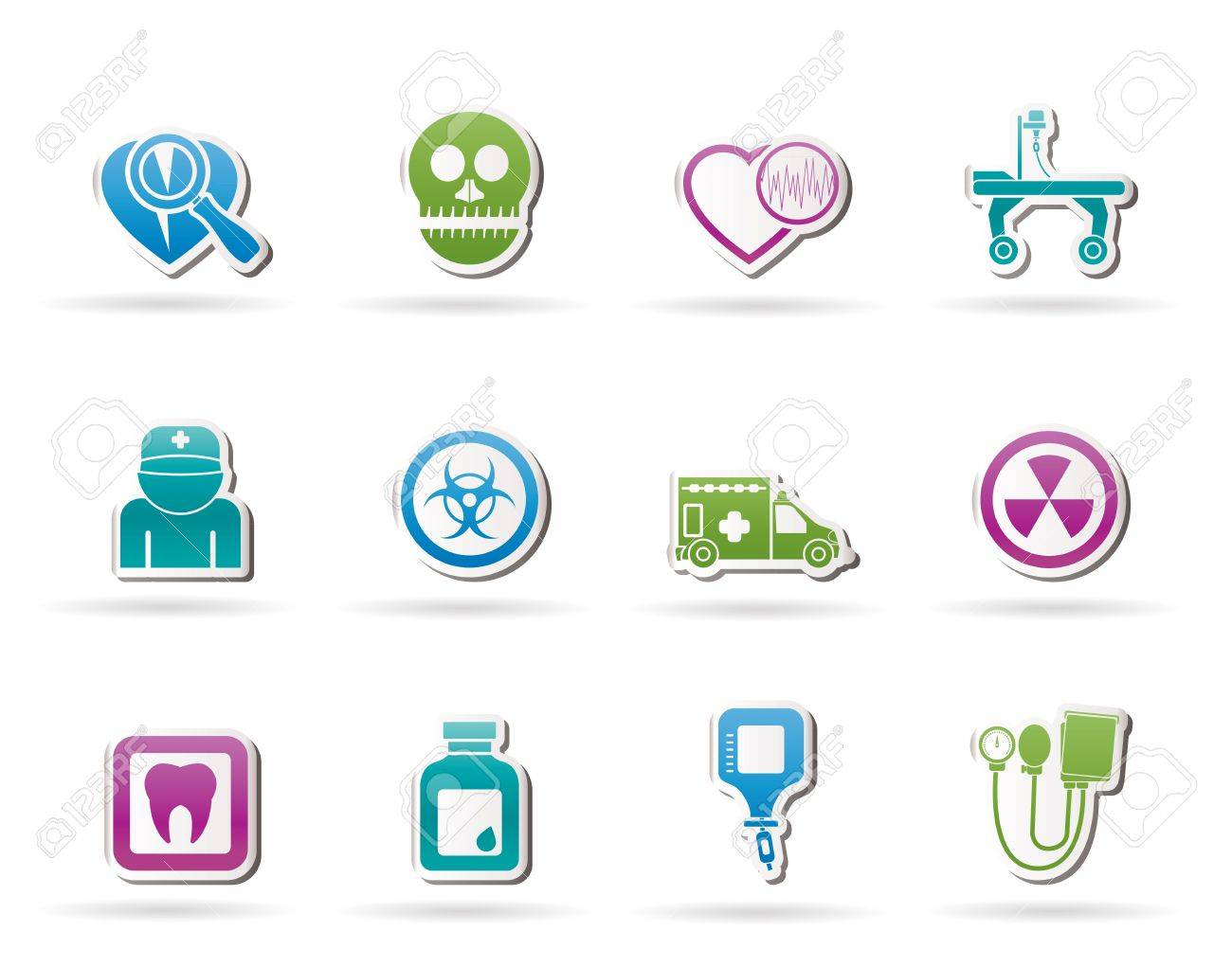 Medicine and hospital equipment icons - vector icon set Stock Vector - 11275116