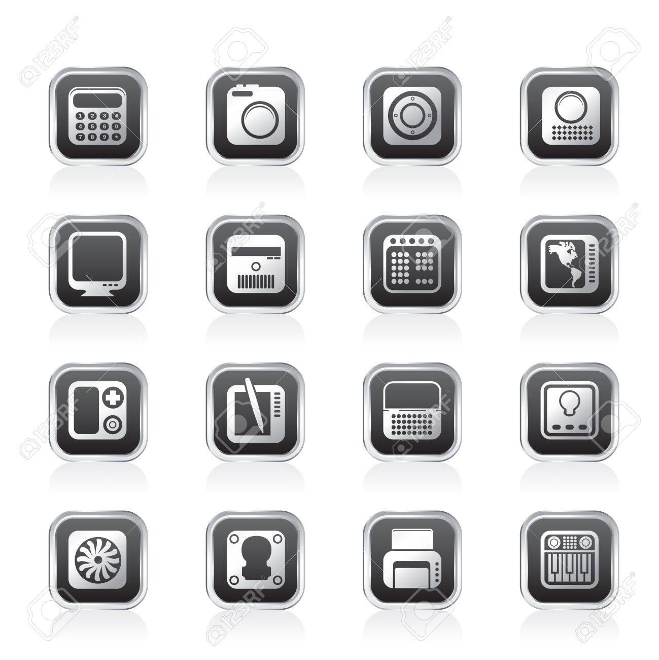 Hi-tech and technology equipment - vector icon set 4 Stock Vector - 11660100