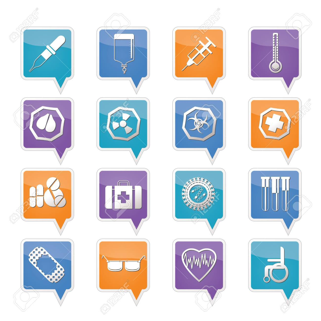Simple  medical themed icons and warning-signs - vector Icon Set Stock Vector - 11780336