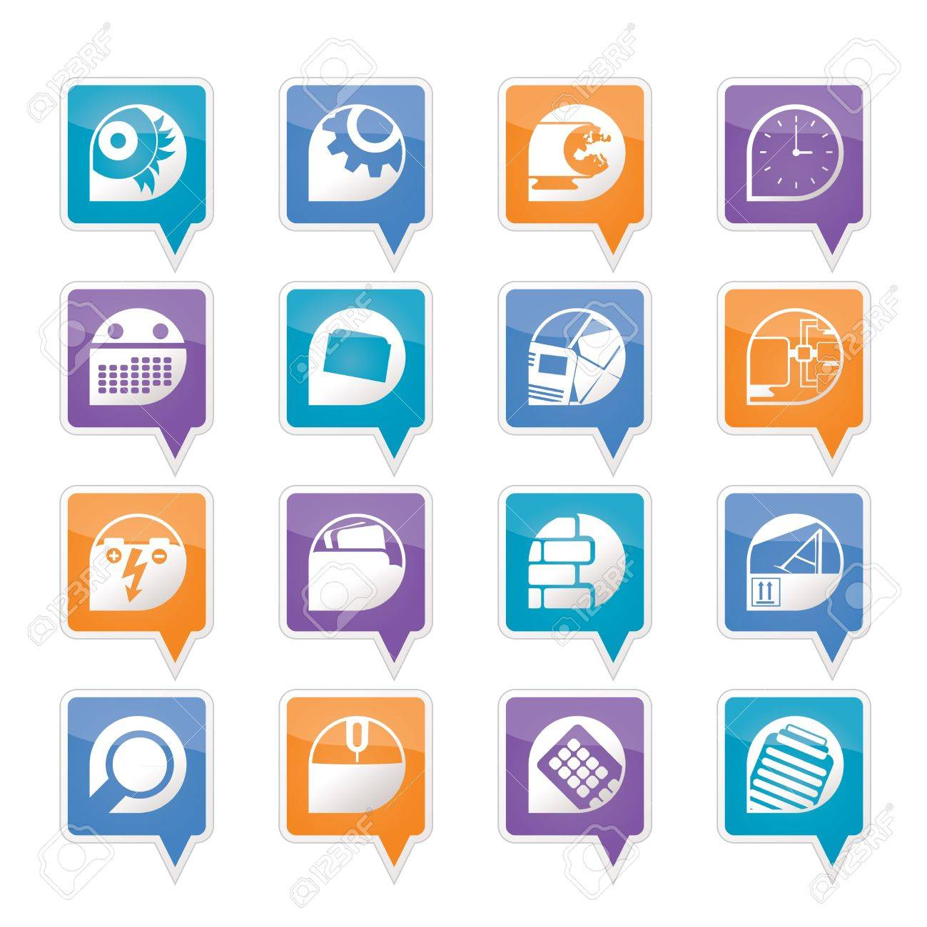Computer, mobile phone and Internet icons -  Vector Icon Set Stock Vector - 11780311