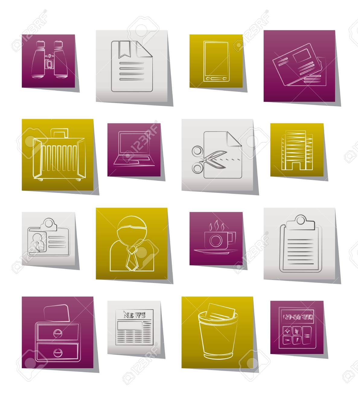 Business and office elements icons Stock Vector - 11883862