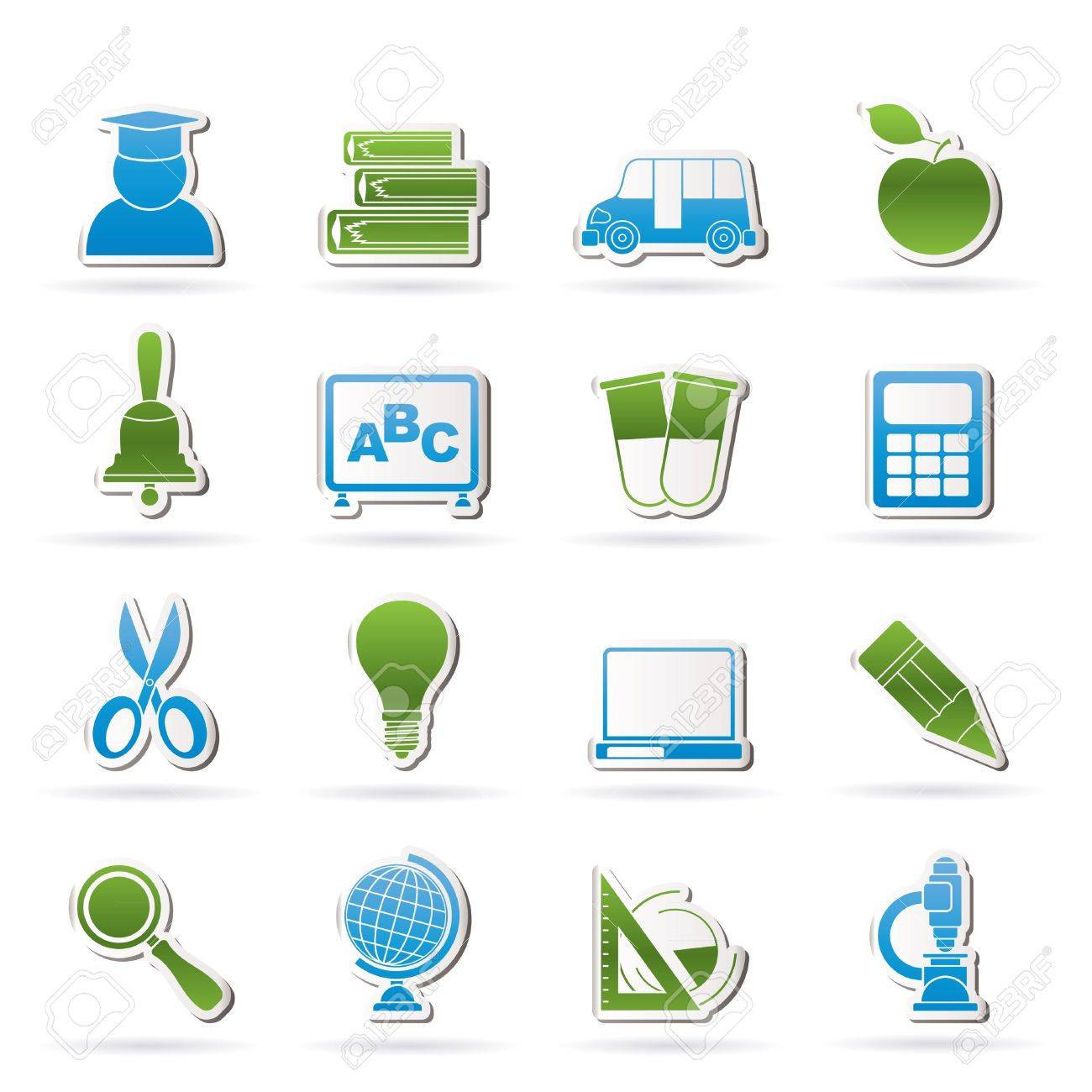 education and school icons - vector icon set Stock Vector - 12481154