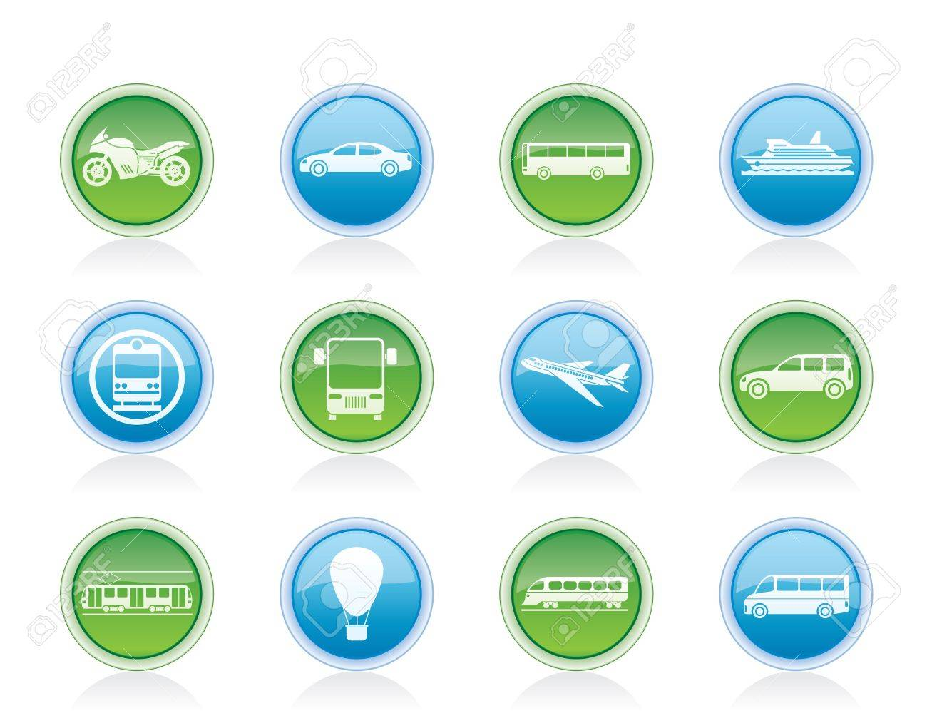 Travel and transportation of people icons - vector icon set Stock Vector - 12481424