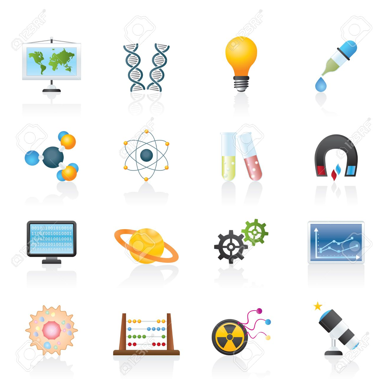 science, research and education Icons - Vector Icon set Stock Vector - 12481494