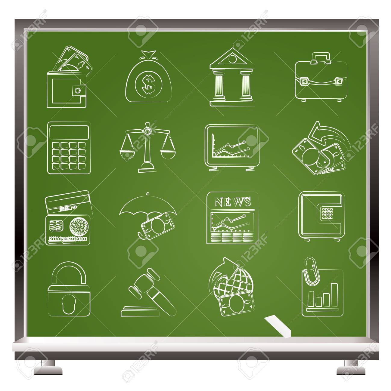 Business, finance and bank icons - vector icon set Stock Vector - 12851961