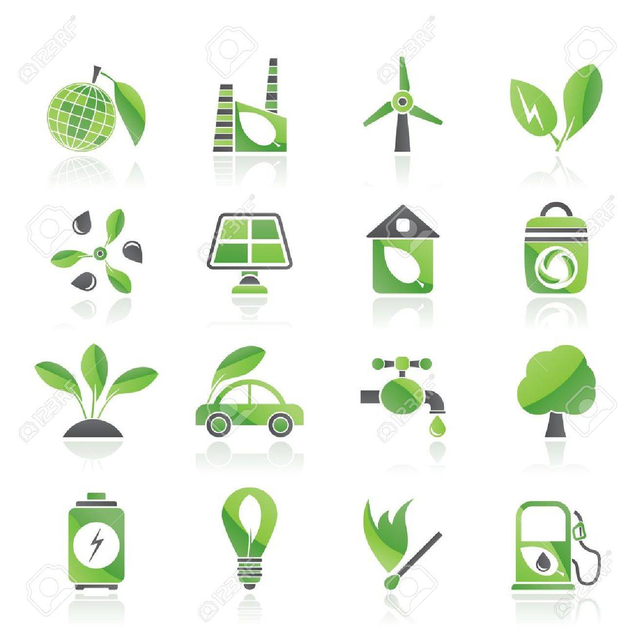 Green, Environment and ecology Icons - vector icon set Stock Vector - 12853125