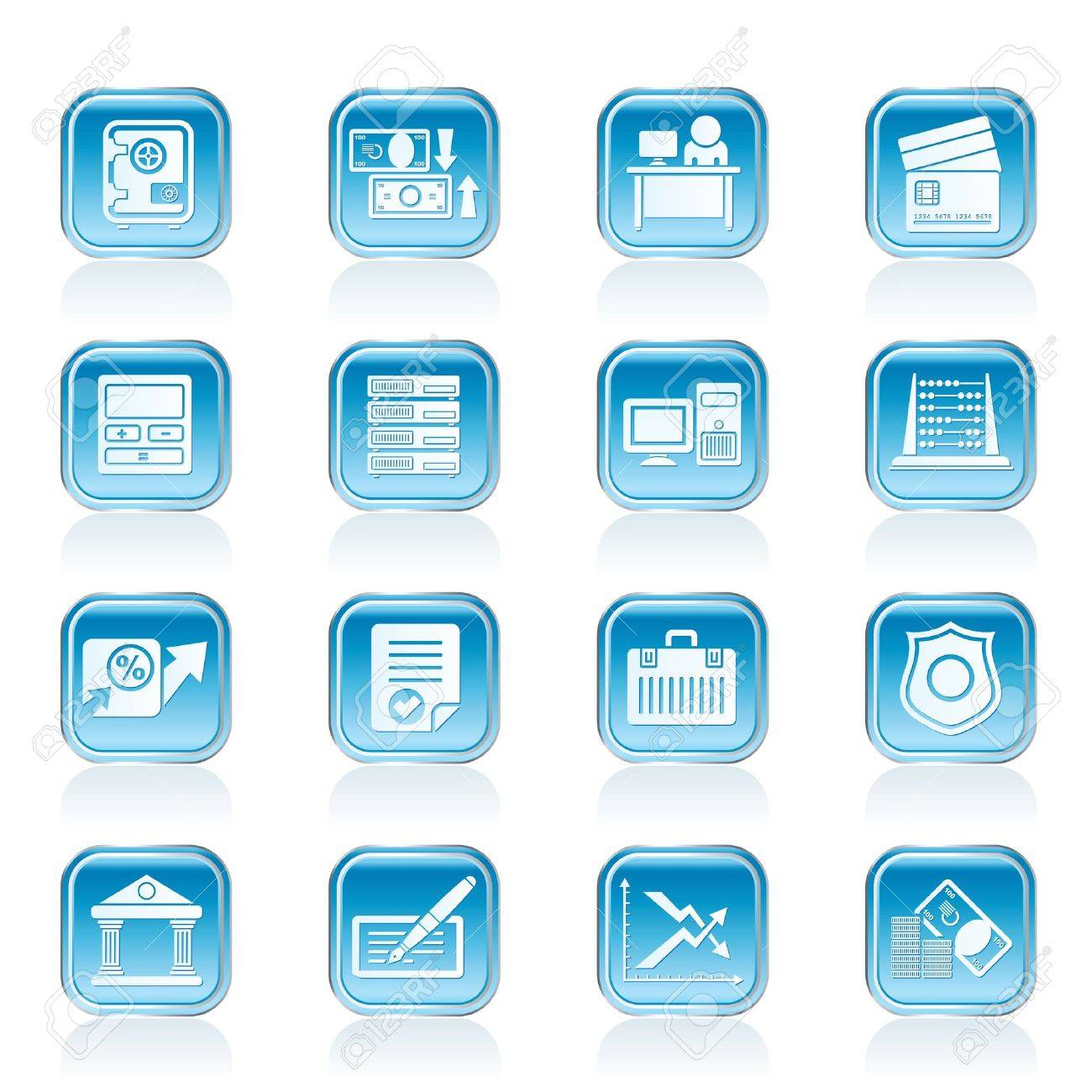 bank, business, finance and office icons - vector icon set Stock Vector - 13006902