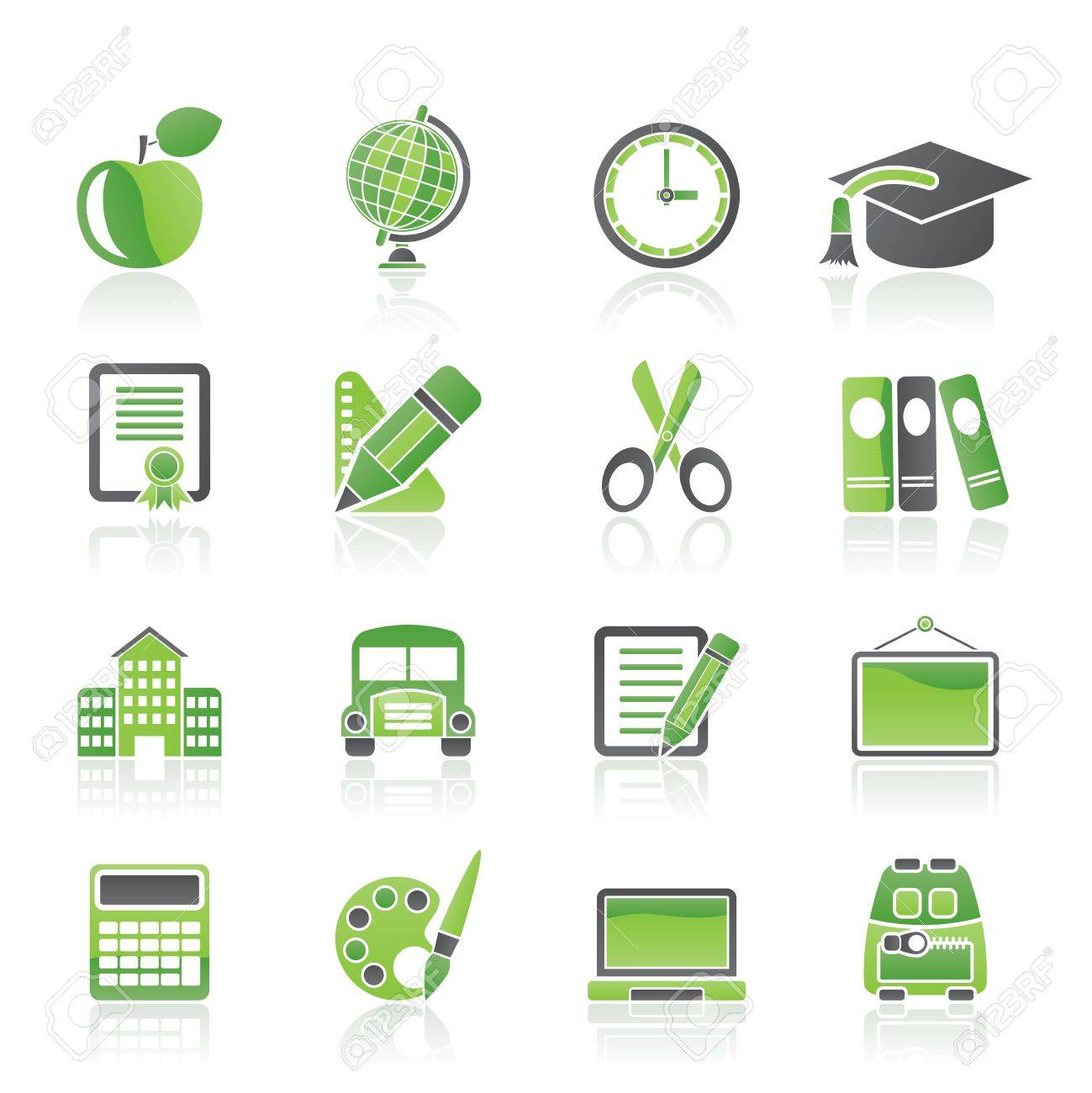 school and education icons - vector icon set Stock Vector - 13006912