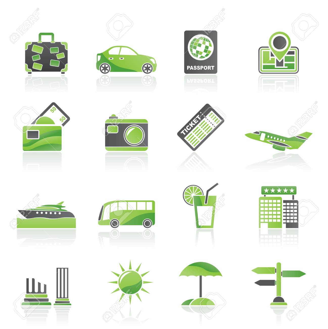 Travel and vacation icons - vector icon set Stock Vector - 13006914