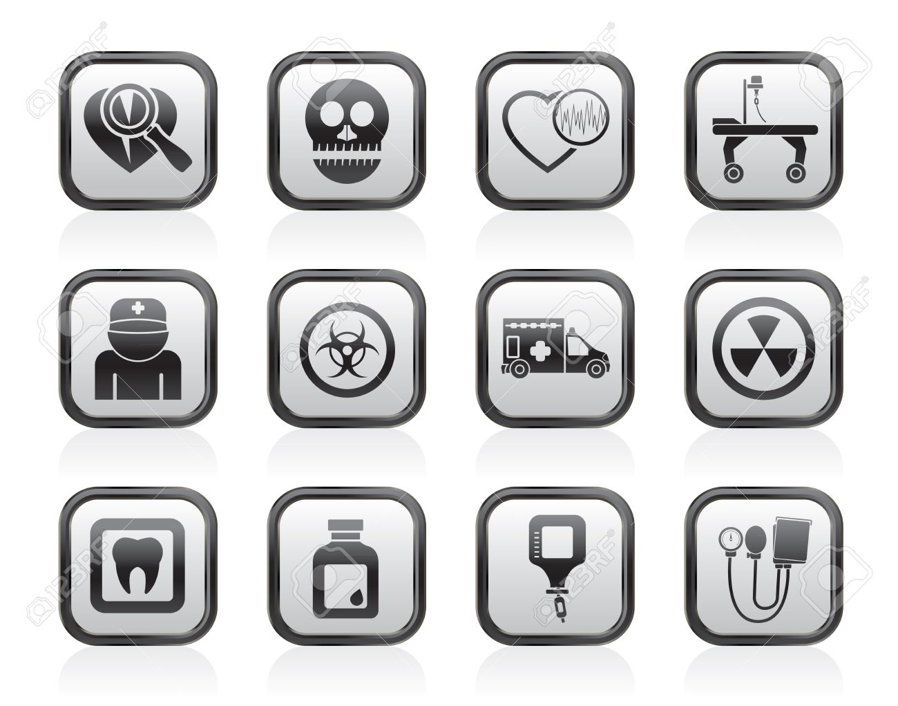 Medicine and hospital equipment icons - vector icon set Stock Vector - 13604091