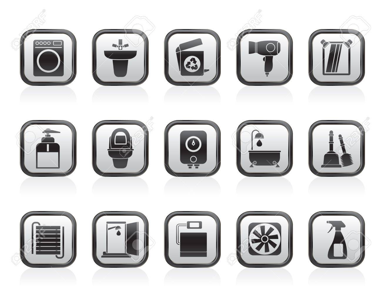Bathroom and toilet objects and icons - vector icon set Stock Vector - 13709807