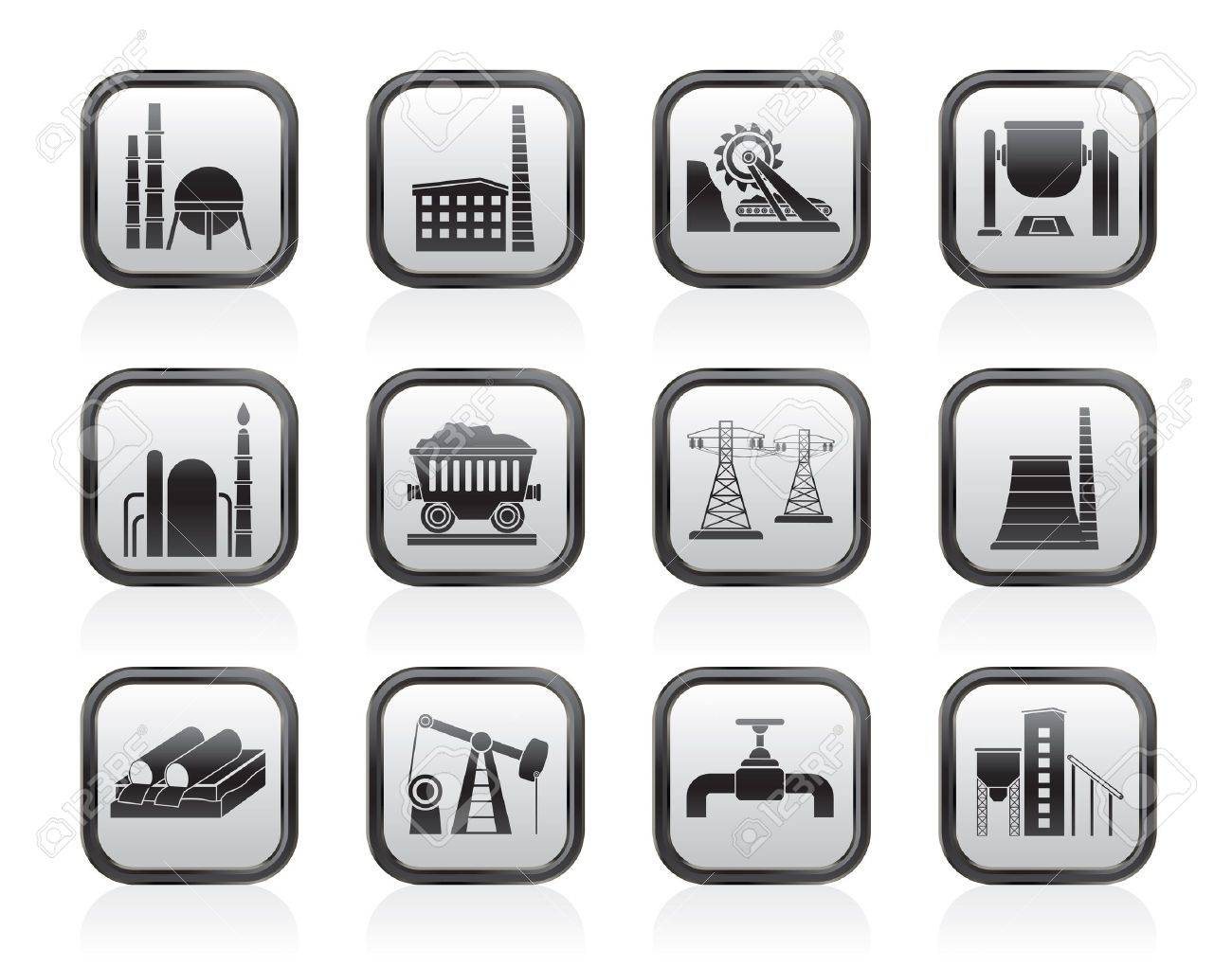 Heavy industry icons - vector icon set Stock Vector - 13910985