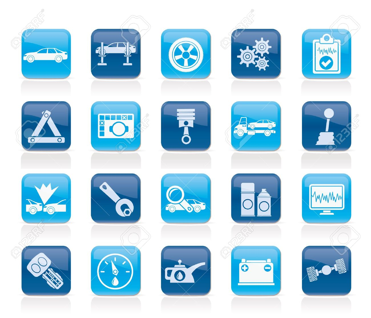 car services and transportation icons - vector icon set Stock Vector - 14396968