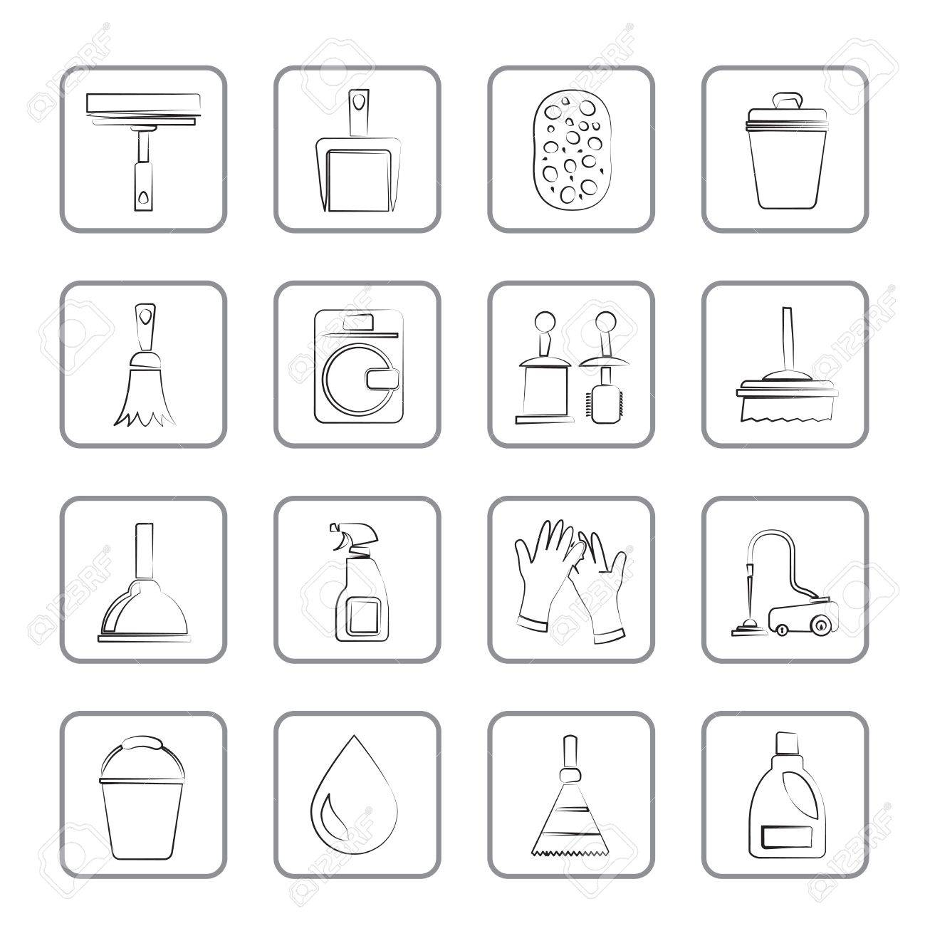 Cleaning and hygiene icons - vector icon set Stock Vector - 14671676