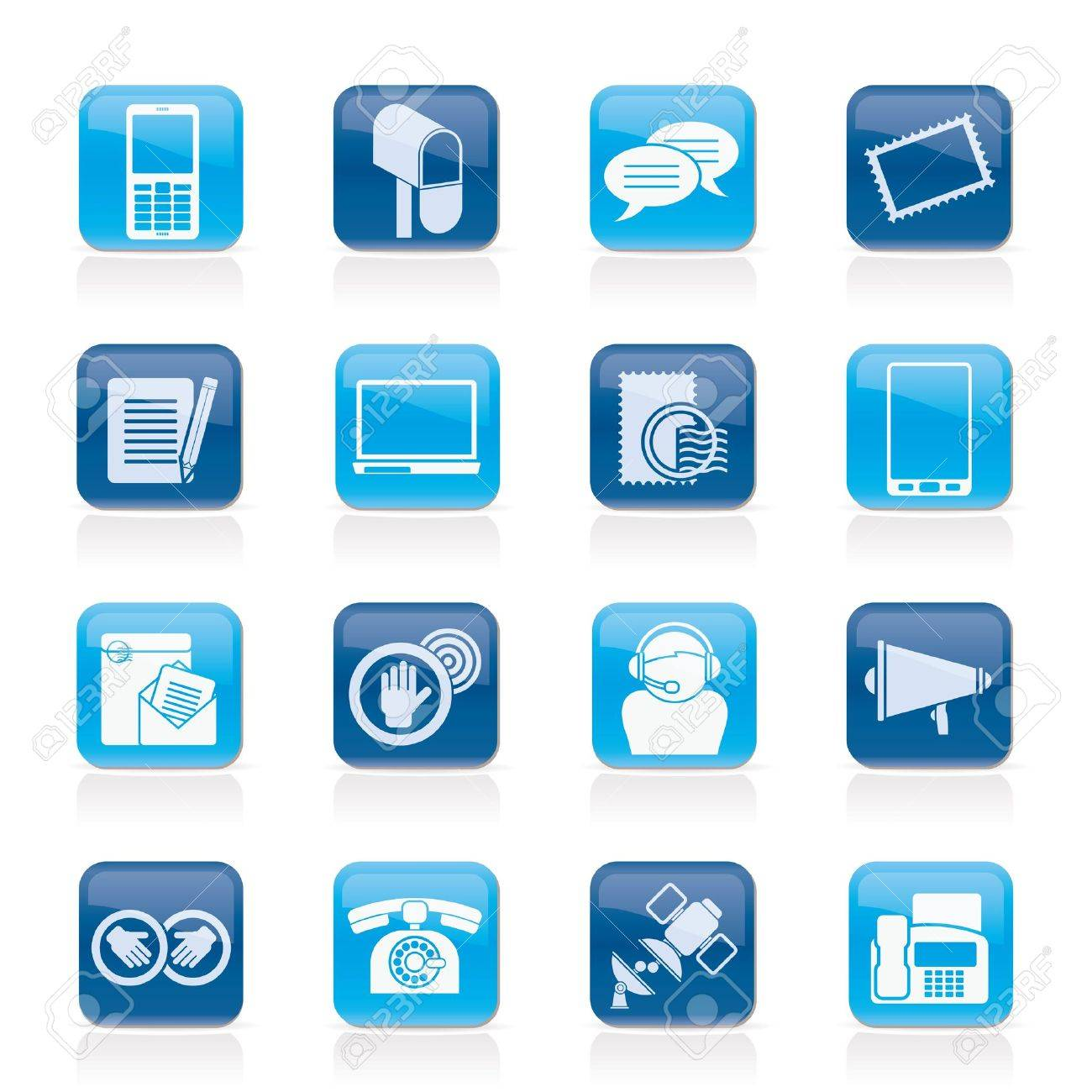 Contact and communication icons - vector icon set Stock Vector - 15073859