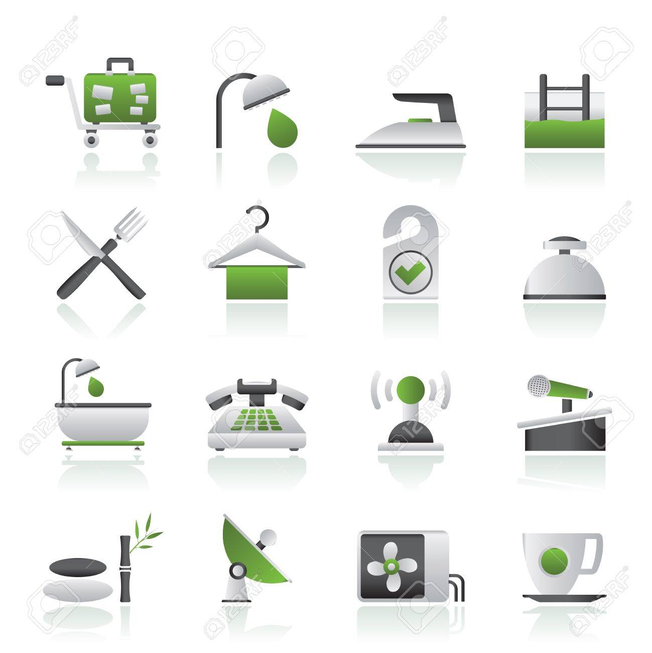 Hotel and motel icons - Vector icon Set Stock Vector - 15073855