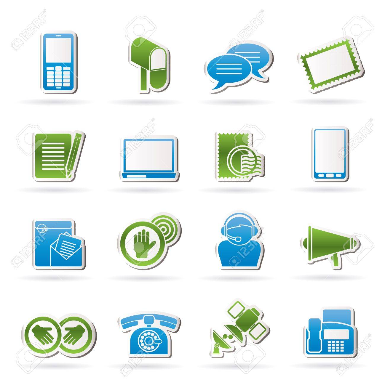 Contact and communication icons - vector icon set - 15952535