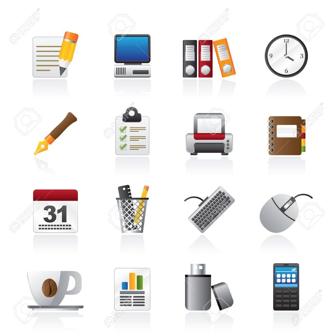 Business and office equipment icons - 16100003