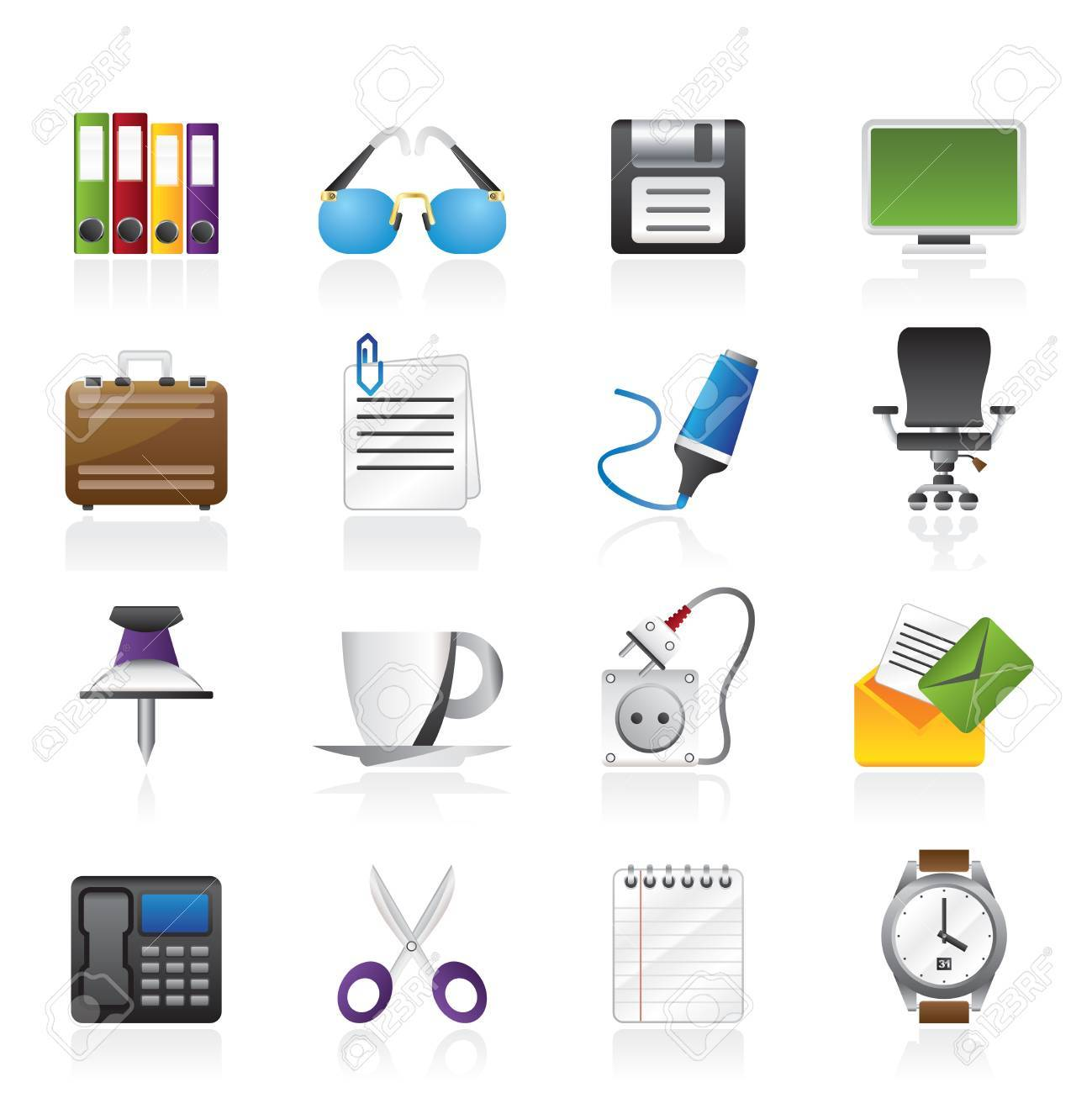 Business and office objects icons - icon set - 16452251