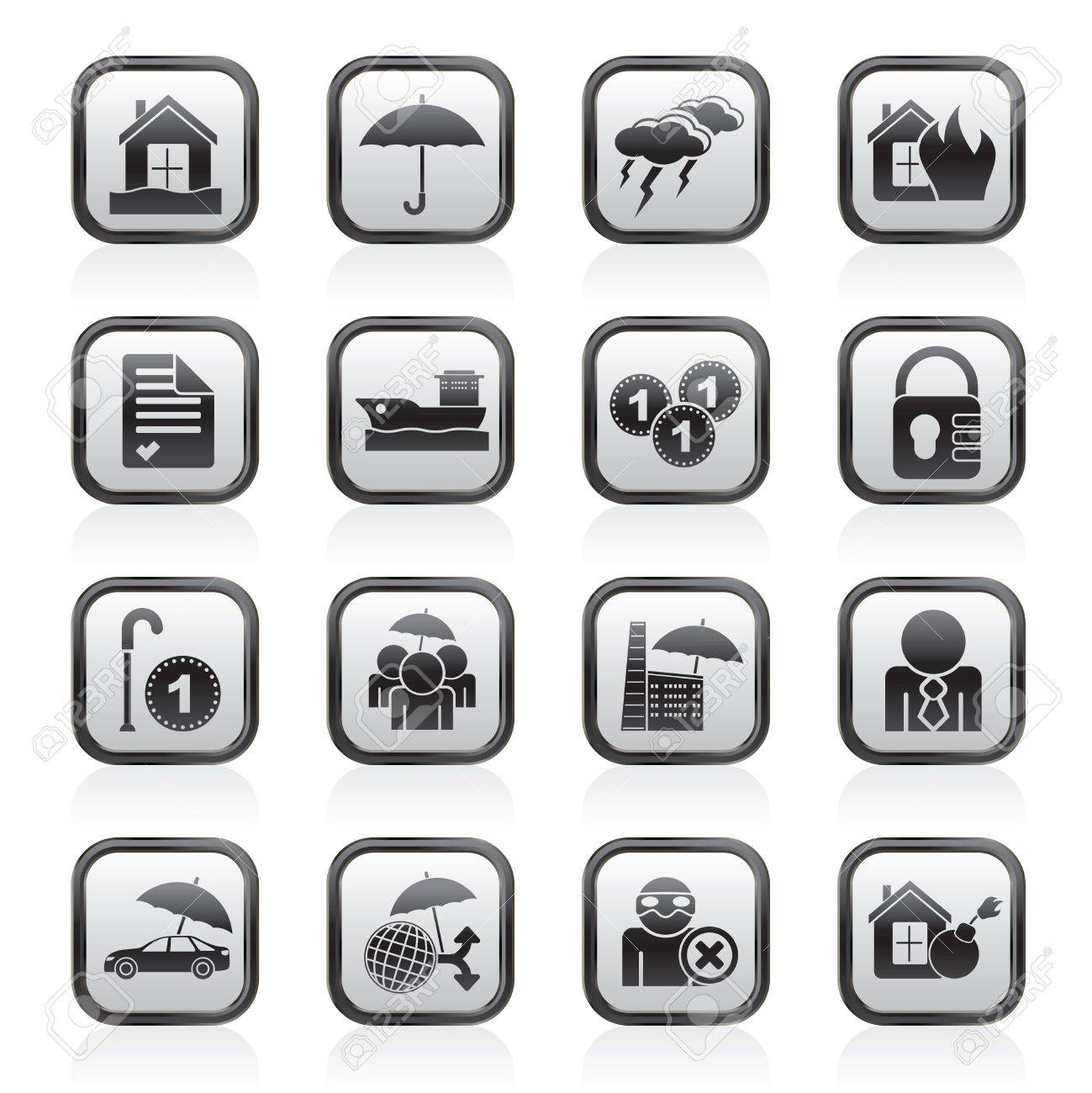 Insurance and risk icons - icon set - 16646606