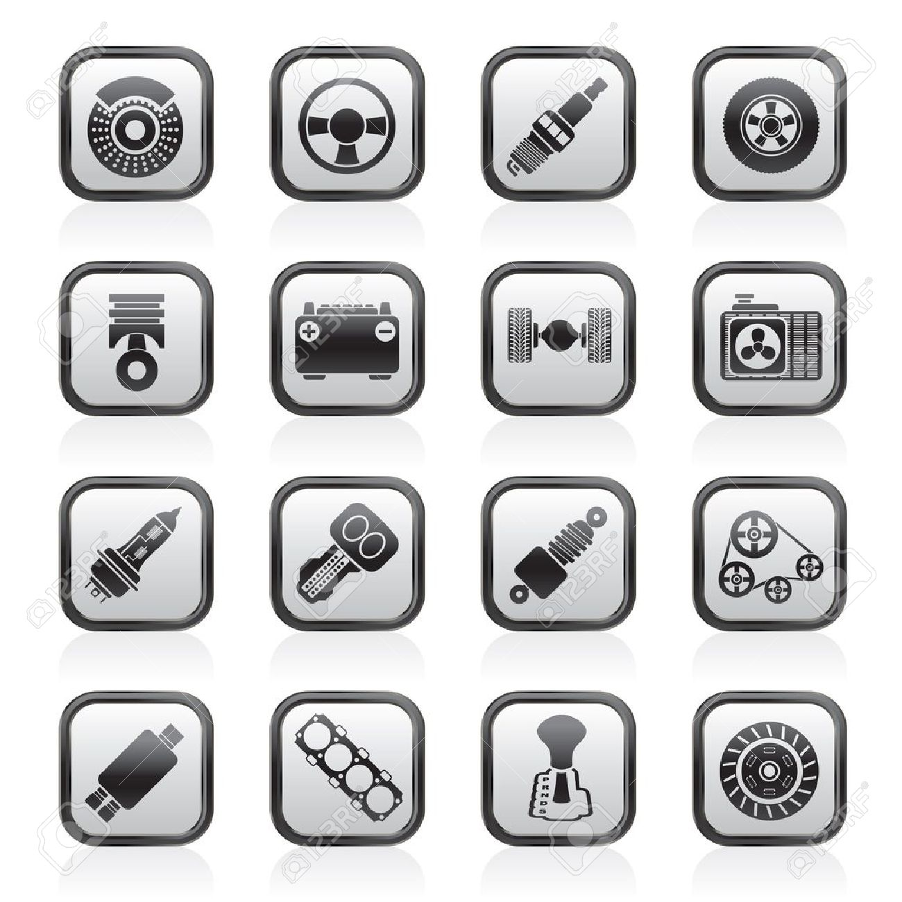 Different kind of car parts icons - vector icon set - 16884826