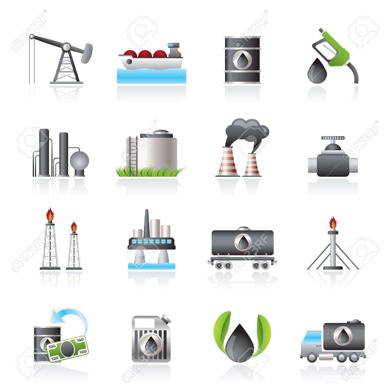 Petrol and oil industry icons - 17359916