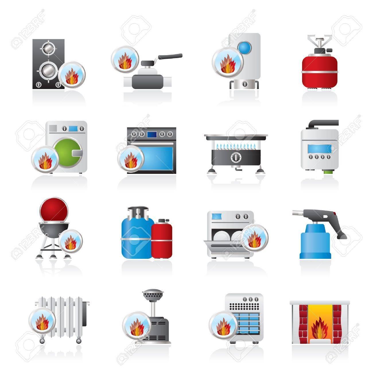 Household Gas Appliances icons - icon set - 17590456