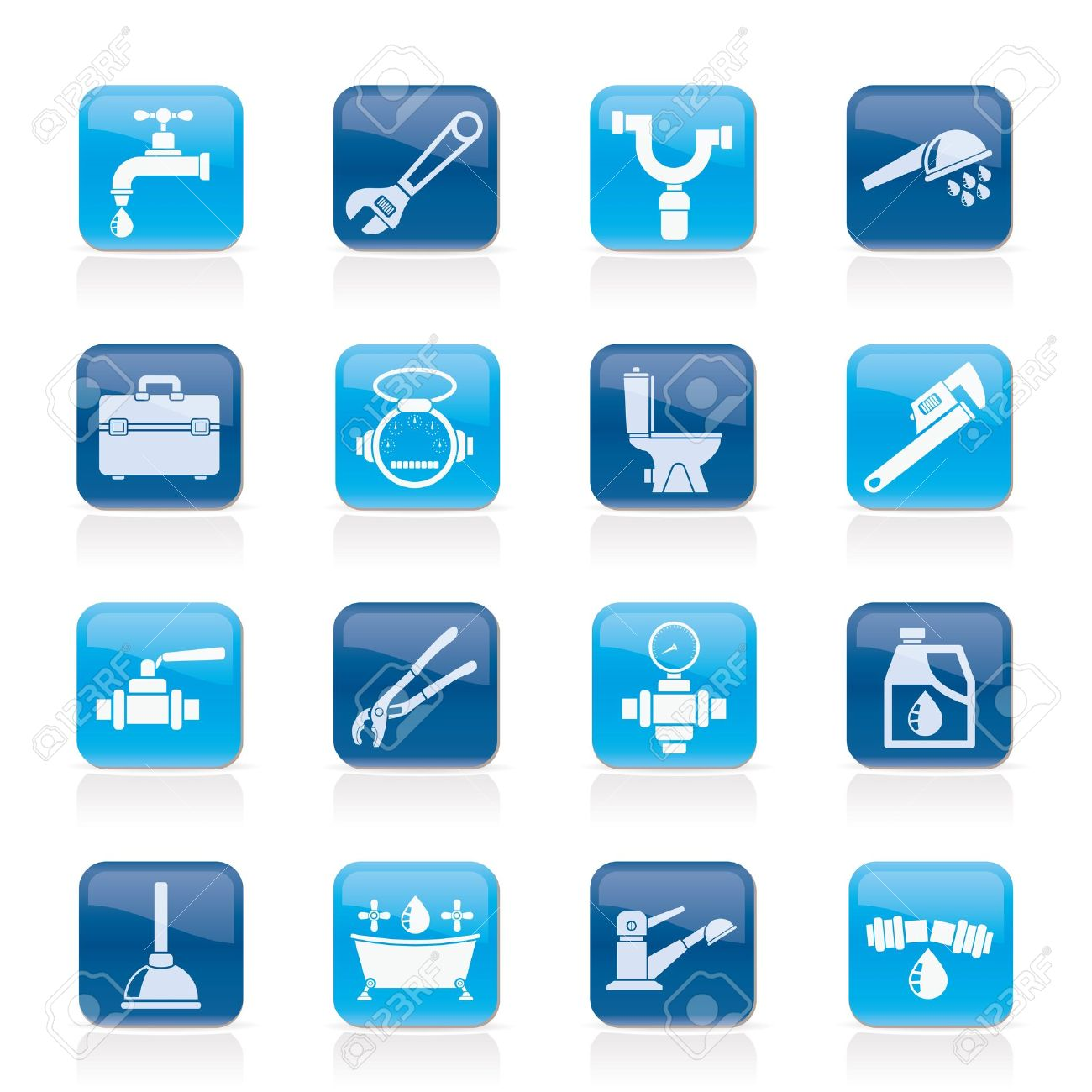 plumbing objects and tools icons - vector icon set - 17817542