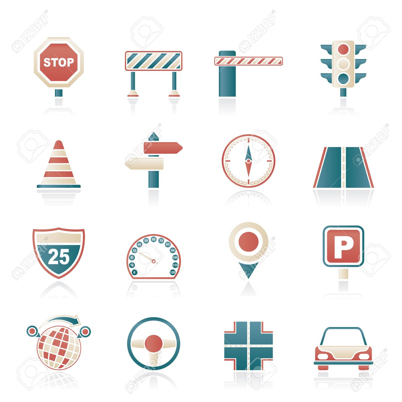 Road and Traffic Icons - vector icon set - 17983046
