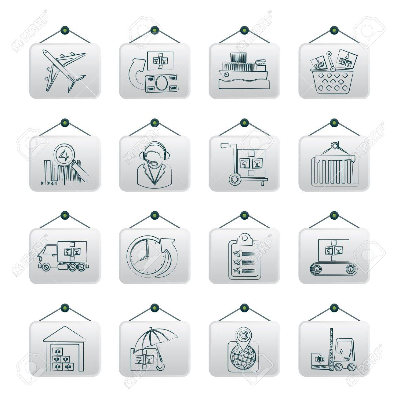 Cargo, logistic and shipping icons - vector icon set Stock Vector - 17983055
