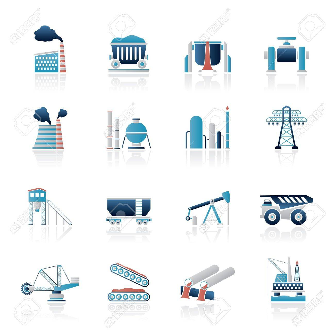 Heavy industry icons - vector icon set - 18135121