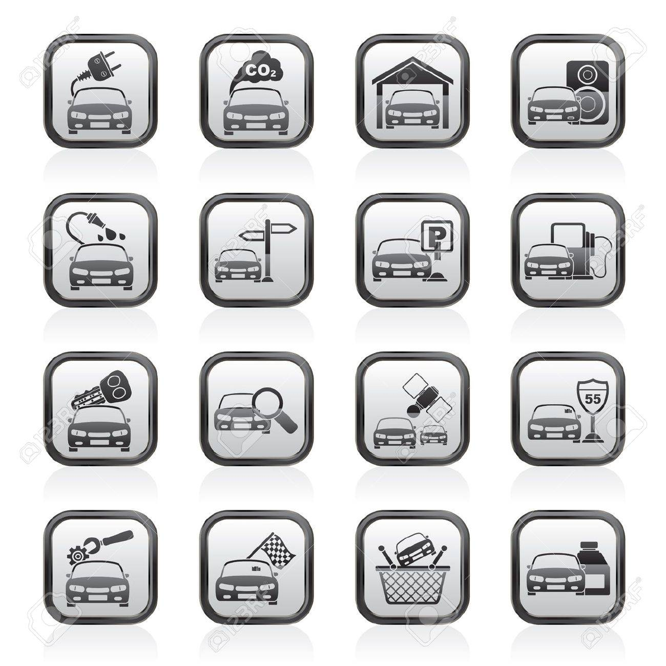 Car and road services icons - vector icon set - 18377359