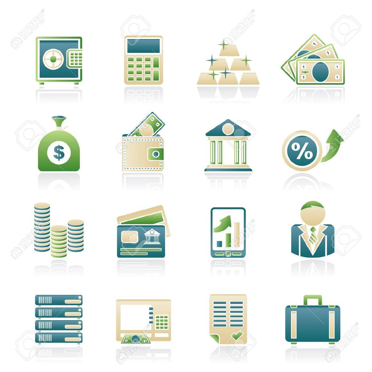 Bank and Finance Icons - Vector Icon Set - 18412963