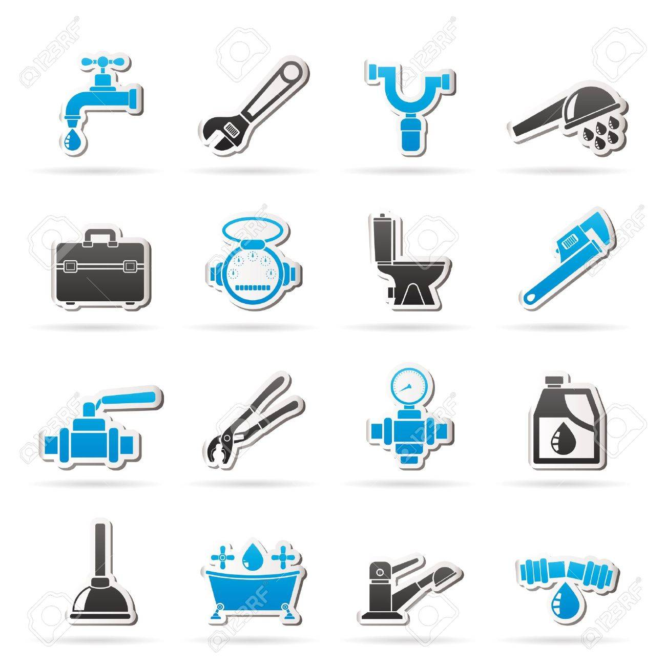 plumbing objects and tools icons - vector icon set - 18650418