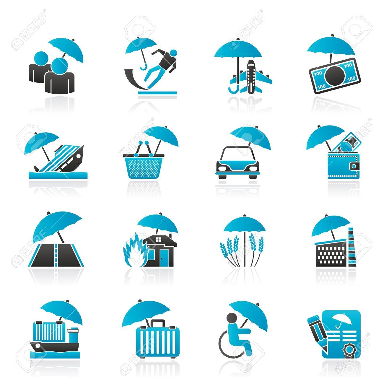 risk and business icons - icon set Stock Vector - 19380242