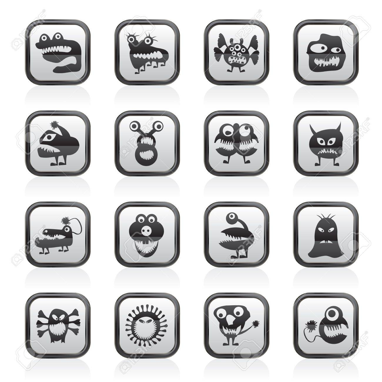 various abstract monsters illustration - vector icon set Stock Vector - 19721899