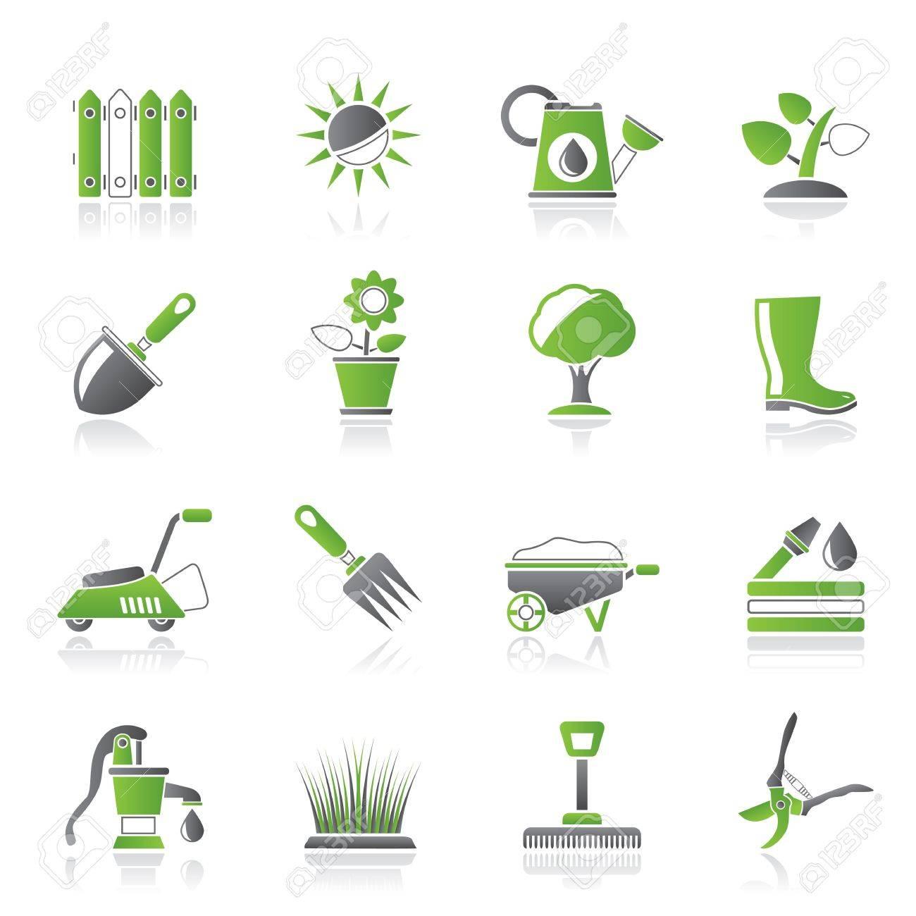 Les outils de jardinage et les icônes des objets - jeu d\'icônes
