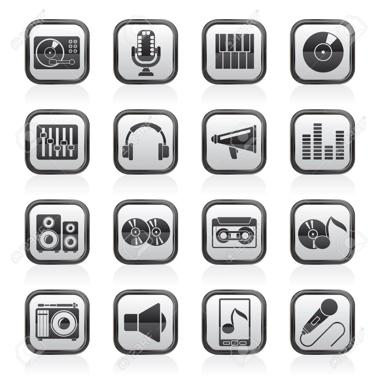 Music and audio equipment icons Stock Vector - 21926562